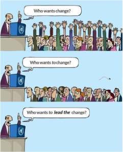 Cartoon about leading change